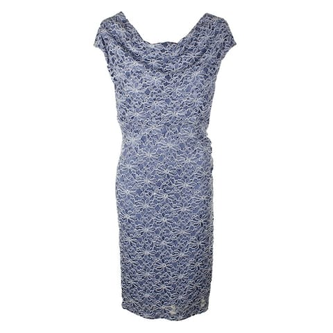 Connected Plus Size Slate Bue Cap-Sleeve Sequined Lace Cowl Neck Sheath Dress 20W