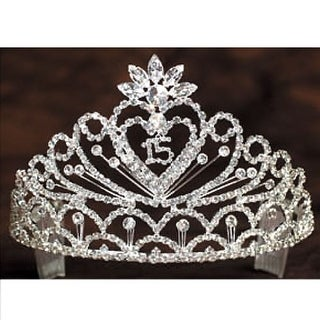 Angels Garment Girls Crystal Stoned Heart 15 Quinceanera Pageant Tiara