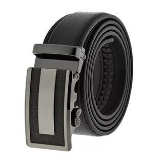 Men's Black Formal Dress Work Leather Ratchet Automatic Sliding Belt - Fits S to XL