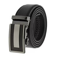 Men's Black Formal Dress Work Leather Ratchet Automatic Sliding Belt - Fits S to XL