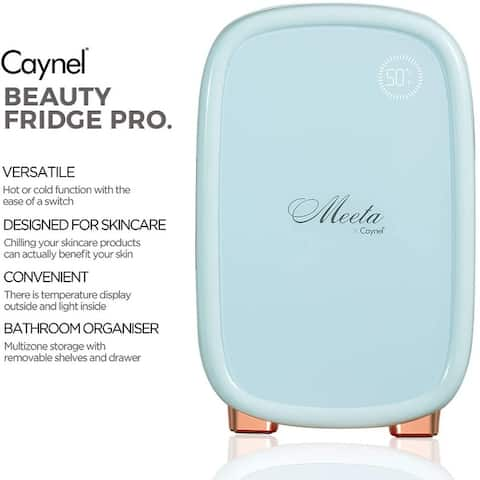 CAYNEL 12 Liter Meeta Beauty Mini Fridge with Smart Breathing Light Display