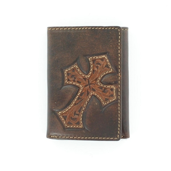 Nocona Western Wallet Mens Trifold Tooled Cross Marbled Bark - One size