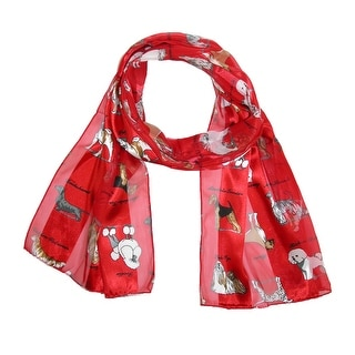 CTM® Women's Satin Breeds of Dogs Print Scarf - One Size