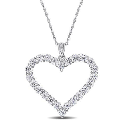 Miadora 2 2/5ct TGW Created Moissanite Heart Necklace in Sterling Silver
