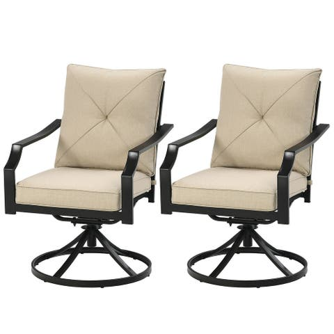 """Set of 2 Patio Swivel Dining Chairs with Cushions - 28"""" x 24"""" x 35"""" (L x W x H)"""