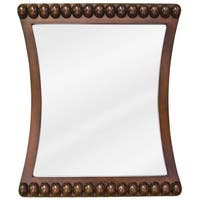 Jeffrey Alexander MIR035 Rosewood Beaded Collection Rounded 24 x 28 Inch Bathroom Vanity Mirror - N/A