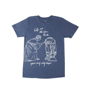 Leia & R2D2 Help Me Obi-One You're My Only Hope Star Wars Men's Blue T-shirt
