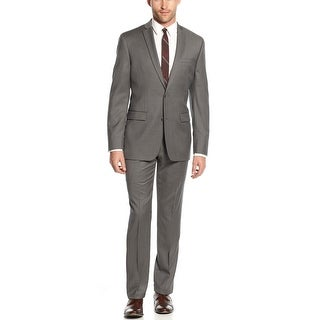 Alfani Black Label Pindot 2pc Suit 40 Long 40L Grey Flat Front Pants 34W