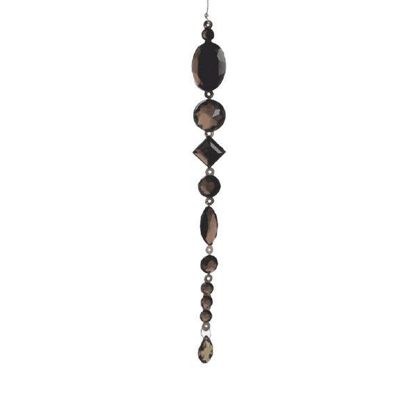 "8"" Beaded Jewel Gunmetal Gray Icicle Drop Christmas Ornament"