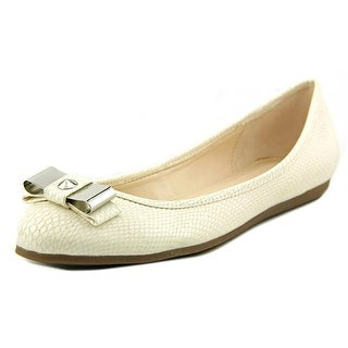 Bar III Zero Women Round Toe Synthetic Ivory Flats