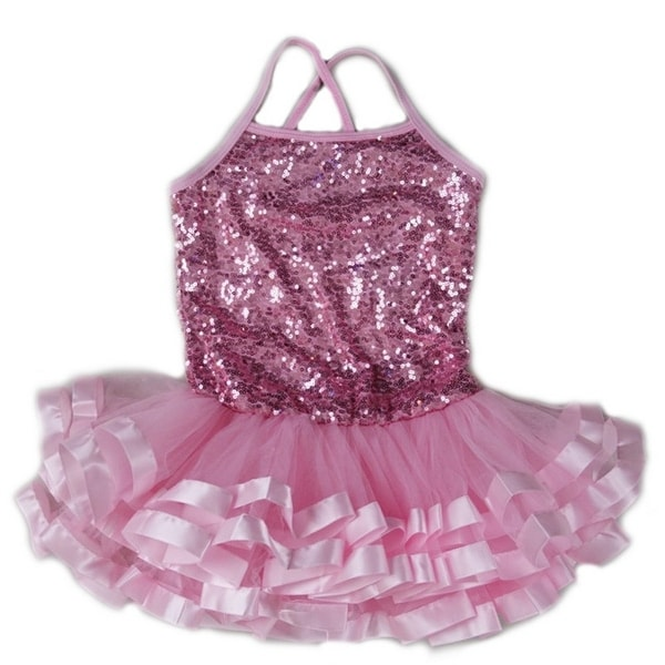 6c42029e3 Shop Wenchoice Little Girls Pink Sequins Cross Back Ribbon Ballet Dress - Free  Shipping On Orders Over $45 - Overstock - 28295043