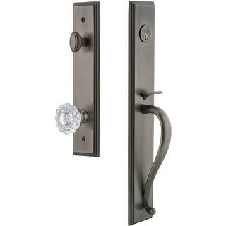 "Grandeur CARSGRVER_ESET_234  Carre Solid Brass Rose Keyed Entry Single Cylinder ""S"" Grip Handleset with Versailles Crystal Knob"