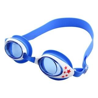 Silicone Belt Clear Vision Anti Fog Swim Goggles Glasses Blue White for Child