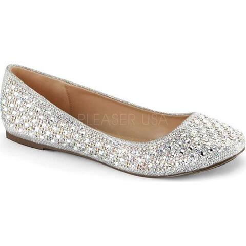 Fabulicious Women's Treat 06 Ballet Flat Silver Glitter Mesh Fabric