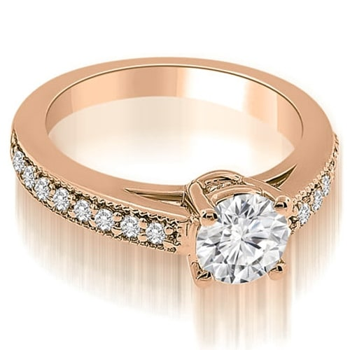 0.75 cttw. 14K Rose Gold Antique Cathedral Round Diamond Engagement Ring
