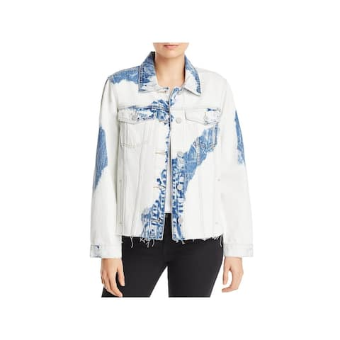 [BLANKNYC] Womens Denim Jacket Tie-Dye Raw Hem - Smoke Signal