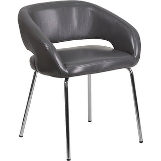 Brielle Gray Leather Side Office Reception/Guest Chair, Curvaceous Frame