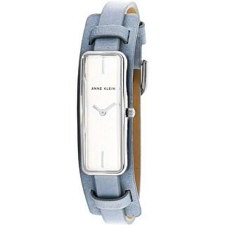 Anne Klein Women's AK-2745SVLB Silver Leather Japanese Quartz Fashion Watch