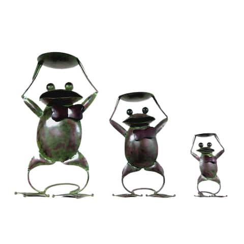 Offex Handmade Multi Color T-Light Antique Iron Frog Candle Holder Decorative Figurine - Set of 3 Pieces