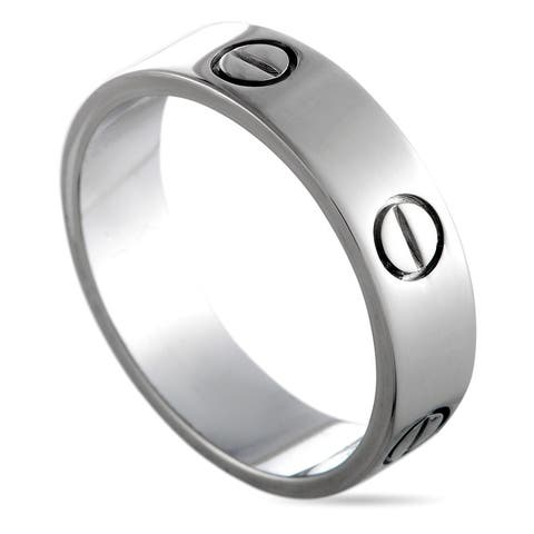 Cartier LOVE White Gold Band Ring Size 5.5