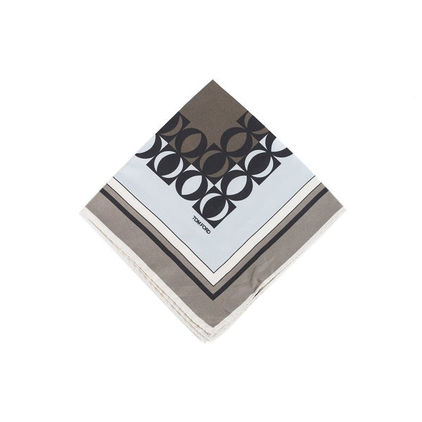 Tom Ford Mens Grey Circle Abstract Silk Pocket Square