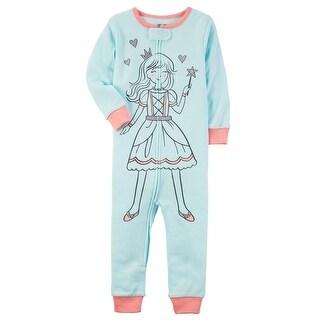 Carter's Baby Girls' 1-Piece Princess Snug Fit Cotton Footless PJs, 12 Months - blue/princess