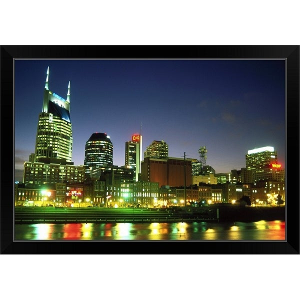 """""""Skyline with reflection in Cumberland River"""" Black Framed Print"""
