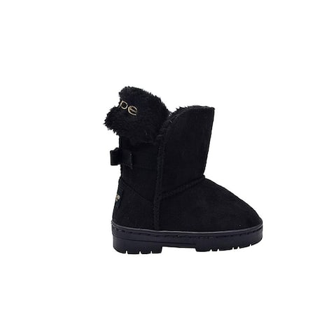 bebe Toddler Girls Kids Mid Calf Easy Pull-On Microsuede Winter Boots