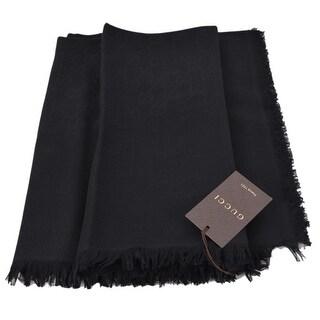 Gucci Women's 387563 Black Wool Silk GG Guccissima Shawl Scarf 53 x 53