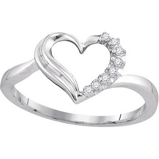 Sterling Silver Womens Round Natural Diamond Heart Love Fashion Ring 1/20 Cttw - White