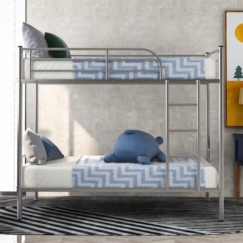 Twin Over Twin Metal Bunk Bed,Silver