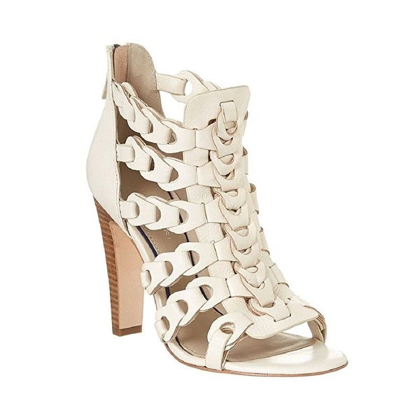 Elie Tahari Intreccio White Leather Sandals