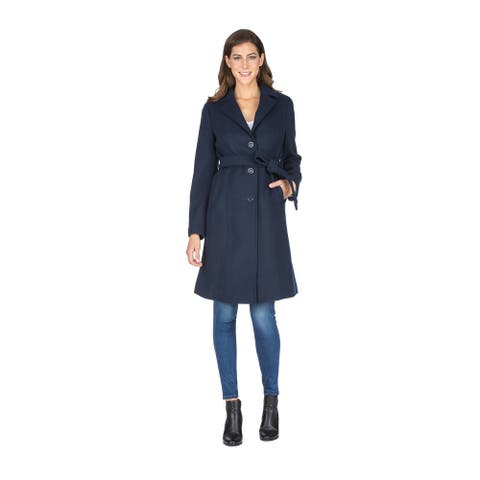 Haute Edition Women' Walker Wool Blend 3/4 Belted Long Jacket