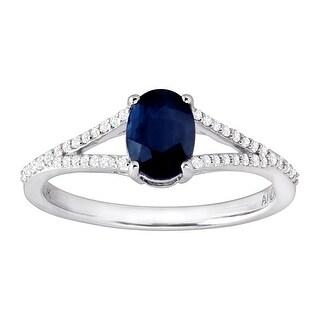 1 ct Natural Kanchanaburi Sapphire & 1/8 ct Diamond Ring in 10K White Gold - Blue