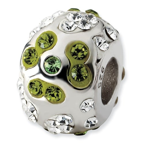 Sterling Silver Reflections White & Green Crystal Flower Bead