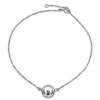 Figaro Chain Celtic Claddagh Heart Sterling Silver Anklet