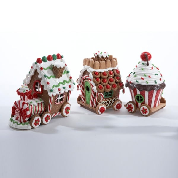 "5.5"" Gingerbread Kisses Lighted Candy Train Cart Christmas Table Top Decoration"