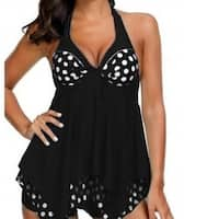 Womens  Polka Dot Plus Size Tankini Set Two Piece Swimwear
