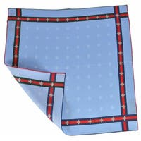 "Gucci Silk Bee Pattern Red Green Web Square Pocket Handkerchief Scarf - 18"" x 18"""