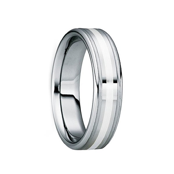 TRAIANUS Silver Inlaid Polished Tungsten Wedding Band with Brushed Dual Grooves by Crown Ring - 6mm