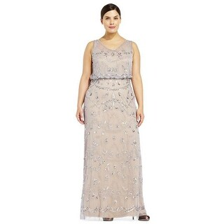 Adrianna Papell Sleeveless Beaded Blouson Gown Illusion, Silver Grey, 16W