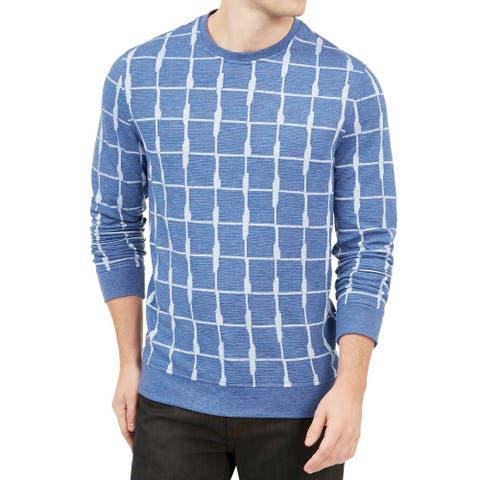 Alfani Mens Sweatshirt Medium Windowpane Textured Pullover