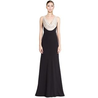 Carmen Marc Valvo Sequined Cowl Neck Evening Gown Dress