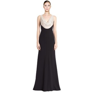 Carmen Marc Valvo Sequined Cowl Neck Evening Gown Dress