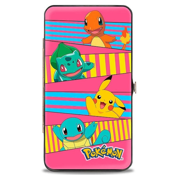 Pokmon Pikachu & Kanto Starter Pokmon Stripe Pink Blue Yellow Hinged Hinge Wallet - One Size Fits most