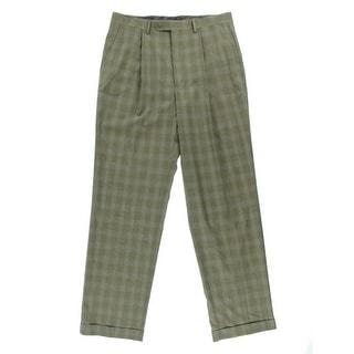 Sean John Mens Plaid Pleated Dress Pants
