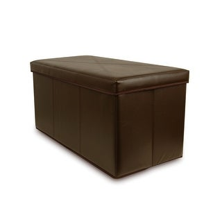 Collapsible Faux-Leather Storage Ottoman Bench, Brown