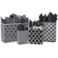 Pack Of 125, Assortment Black Geo Graphics Recycled Paper Bag 25 Rose, 25 Cub, 25 Carrier, 25 Vogue & 25 Queen