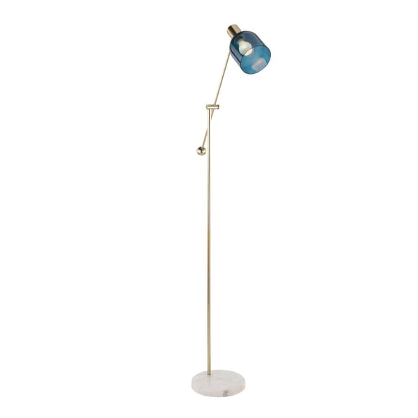 Marcel Contemporary Floor Lamp with Glass Shade and Marble Base. Opens flyout.