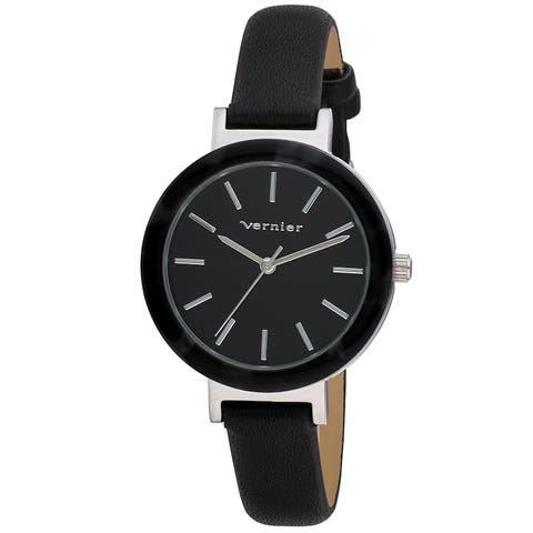 Vernier Womens Resin Bezel Sunray Dial Strap Watch - One Size
